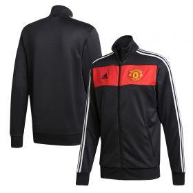Manchester United 3 Stripe Track Top - Black