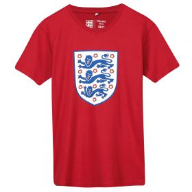 England Large Printed Crest T-Shirt - G Red - Kids