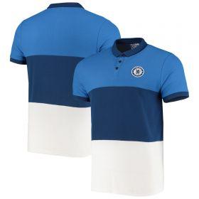 Chelsea Colour Block Polo Shirt - White/Blue - Mens