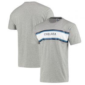 Chelsea Printed Panel T-Shirt - Grey Marl - Mens