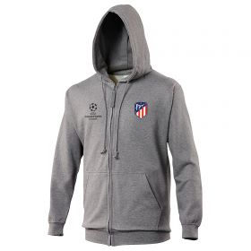 Atlético de Madrid UEFA Champions League Embroidered Zip Hoodie - Grey - Mens