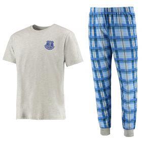 Everton Check Pyjama Set - Grey Marl/Blue - Mens