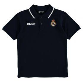 Real Madrid Crest Polo Shirt - Navy - Junior