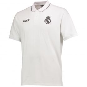 Real Madrid Polyester Training Polo Shirt - White - Mens
