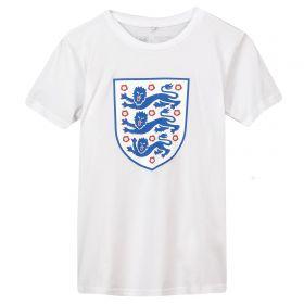 England Large Printed Crest T-Shirt - White - Kids