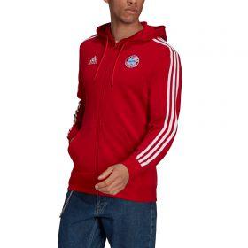 FC Bayern 3 Stripe Full Zip Hoodie-Red