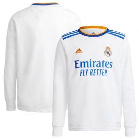 Real Madrid Home Shirt 2021-22-Long Sleeve-Kids