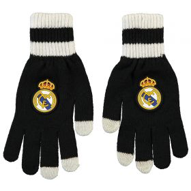 Real Madrid Touchscreen Gloves - Black/White - Adult