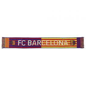 Barcelona Stripe Wordmark Scarf - Navy/Red - Adult