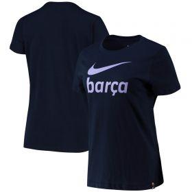 Barcelona Swoosh T-Shirt - Dark Navy - Womens