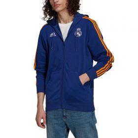 Real Madrid 3 Stripe Full Zip Hoodie-Blue