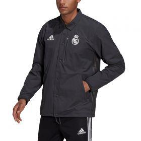 Real Madrid Travel Coaches Jacket-Grey