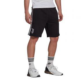 Juventus 3 Stripe Sweat Shorts-Black