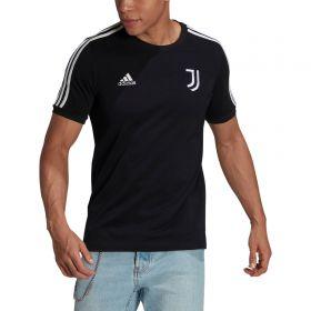 Juventus 3 Stripe T-Shirt-Black