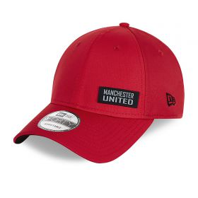Manchester United New Era Rubber Wordmark Ripstop 9FORTY Adjutable Cap - Red - Unisex