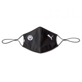 Manchester City Puma 2 Pack Face Coverings - Black - Adult