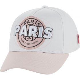 Paris Saint-Germain Core Wordmark Graphic Cap - White/Pink - Girls
