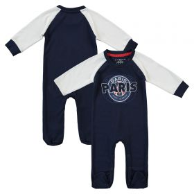 Paris Saint-Germain Core Wordmark Graphic Sleepsuit - Blue/White - Baby Boy