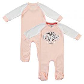Paris Saint-Germain Core Wordmark Graphic Sleepsuit - Pink/White - Baby Girl