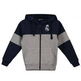 Real Madrid Colour Block Hoodie - Grey/Navy - Boys