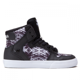 SUPRA WOMENS VAIDER BLACK/PRINT - WHITE